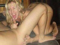 Slutty amateur MILFs kissing cocks