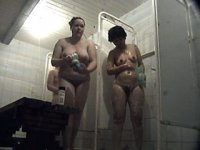 Kinky peeper got three full milfs filmed in shower
