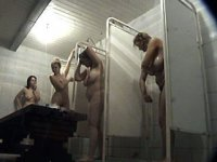 Naked girls for all tastes in crowded shower room