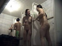 Spycammed shower room filled with sexy nude babes