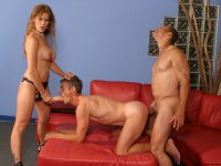 Long-haired alluring milf rides a dick then strap-ons dildo to bang tow bi guy\'s assholes