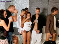 Cute guys at big homosexual party with horny dudes and girls