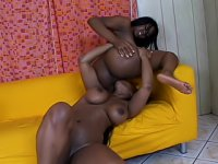 Big black boobs were bouncing everywhere when these lesbians were fucking each other hard