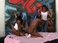 Strapon dick loving black lesbian hotties doing some pretty damn nasty things