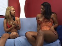 Watch dildos and vibrators slide in and out of Annabelle Martini and Melrose Foxxx\'s juicy black slits