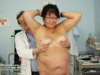 Aged Tatana takes cooter enema during senior gyno inspection