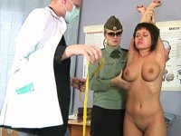 Group medical dominancy. Big boobs in the hands of two medical maniacs