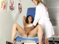 Sensual lesbian gynecology. Lewd lesbian gynecologist examines and depraves