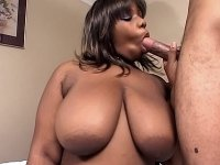 Big busted black bbw sucks a cock and gets nailed