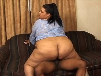 Fat black babe gets her cunt and ass stuffed with cock