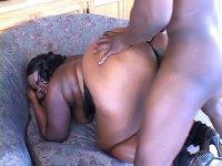 Horny ebony BBW gets her plump booty cock stuffed
