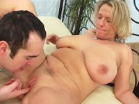 Fat mama with huge jugs pleasures lucky youngster