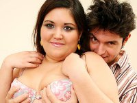 Brunette fatty Lindsey lets a stud please her extra large jugs before having her fat twat banged