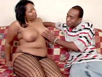 Plump ebony hottie Niko Star enjoys having face hole and muff stuffed with a hard and meaty cock