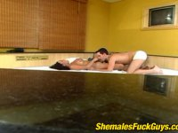 Steaming hot shemale and insatiable guy satisfying their desire in the bed