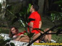 Steamy chap and sex-crazy shemale playing nasty and dirty games outdoors