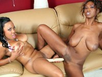 Big titted black sluts getting each other off with toys