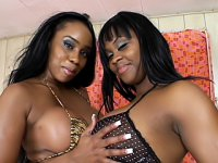 Black lesbians rubbed their big tits and plunged their tongues and toys inside each other