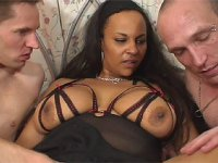 Busty ebony Shana getting spitroasted and facial cumsplashed