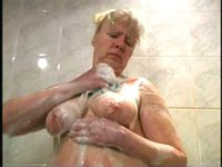 Hairy mature BBW taking a shower