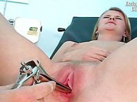 Gyno patient Kate examined by deviated freaky gyno female doctor