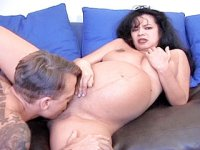Lactating preggo whore having her shaven pussy eaten