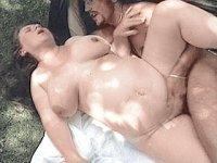 Mature preggo bitch massaging her huge tits while cock sucking outdoors