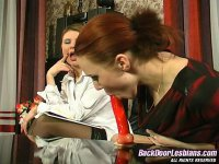 Lascivious lesbian chick showing a cutie her strap-on ass-fucking skills