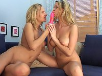 Slim and tight blondie with big tits fucks her girlfriend in the ass in doggy and eats her pussy