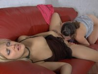 Awesome lezzie with upskirt look luring a hottie into wild lesbian games