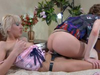 Heated backdoor lesbians put to use a strap-on dick and a double dildo toy