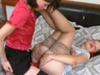 Strap-on armed lesbian babe getting down to frantic ass-splitting action
