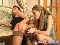 Salacious lesbian babe taking use strap-on in frenzied ass-splitting action