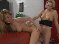 Smashing sapphic chick wiggling her yummy ass craving for strap-on fucking