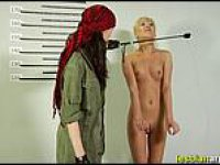 Extreme lesbian war fun - Dildo interrogation of a lesbian army captive