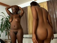 Hot and horny black lesbians have orgasm after orgasm when they squeeze a double dong inside of their holes