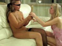 Blindfold lesbian chick getting new sensations from wild backdoor fucking