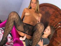 Blonde is sexy black pantyhose gets fucked by her young girlfriend