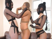 Pantyhose encasement fun as two lesbians encase and fuck the new girl
