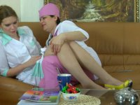 Old lesbo doc seducing a young shy nurse into pussy poking and sixty-nine