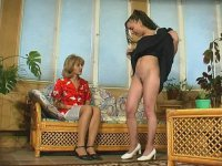 Upskirt French maid seducing raunchy mature gal into juicy all-girl action