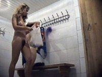 Four hot young babes naked in spycammed locker