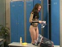 Girl in locker room