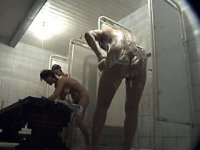 Voyeur cam in ladies\' shower filming awesome asses