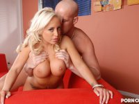 Big boobed babe getting plugged with a hunk of massive meat