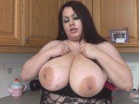 British bbw Madison Blush playing with her massive 40L boobs