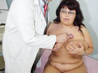 Aged mama Daniela gets naked at gyno office for mad professor