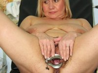 Elder physician gyno chair pussy speculum exam skillful housewife at gyno hospital
