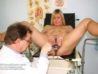 Middle aged Irma takes pussy enema during milf gyno test