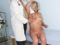 Middle aged wife Nada gets naked at gyno office for elder female doctor